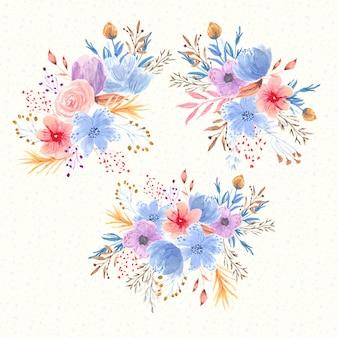 Hermosos ramos de flores colección de acuarela