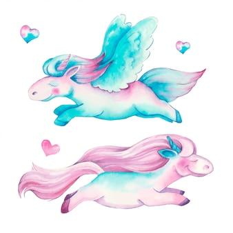 Hermosos unicornios acuarelas en colores rosa y morado