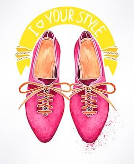 Hermosos zapatos de acuarela rosa. ilustración dibujada a mano