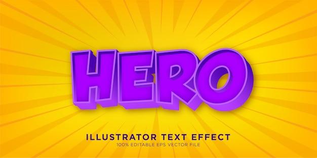 Hero purple text effect design estilo de illustrator