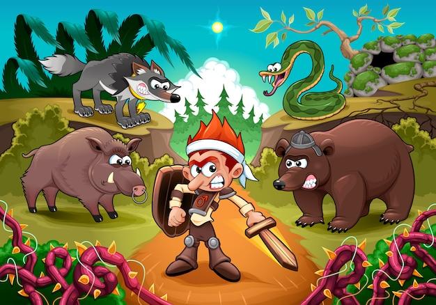 Héroe luchando contra sus enemigos. ilustración de vector de dibujos animados para niños.