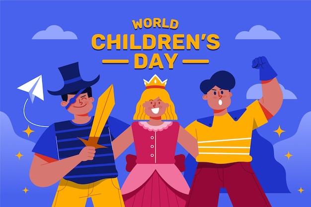 Héroes de dibujos animados del día del niño de diseño plano