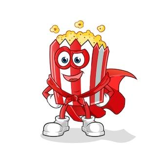 Héroes de la mascota de dibujos animados de palomitas de maíz