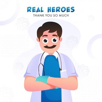 Héroes reales muchas gracias texto con personaje de dibujos animados médico sobre fondo blanco de virus sars y mers.