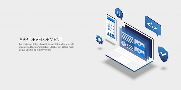 Herramienta de desarrollo de aplicaciones móviles, diseño de interfaz de usuario isométrica.