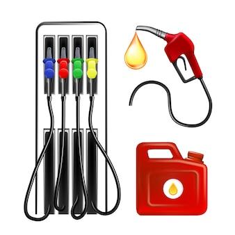 Herramienta de gasolinera, manguera y recipiente