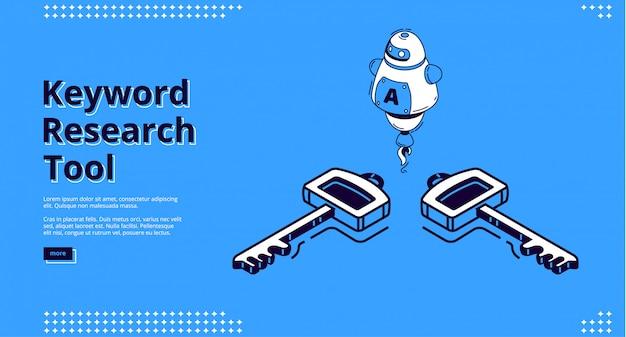 Herramienta de investigación de palabras clave con iconos isométricos, diseño de sitios web
