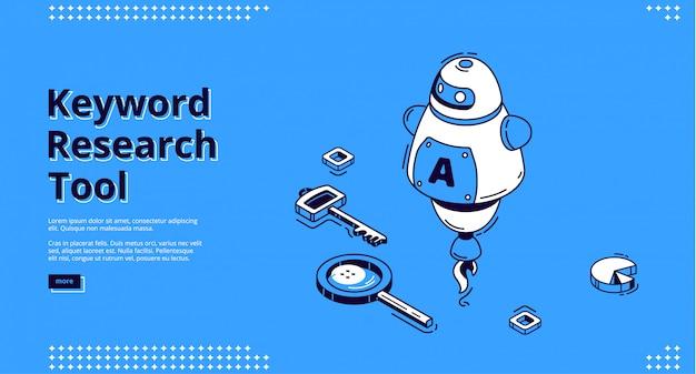 Herramienta de investigación de palabras clave con iconos isométricos