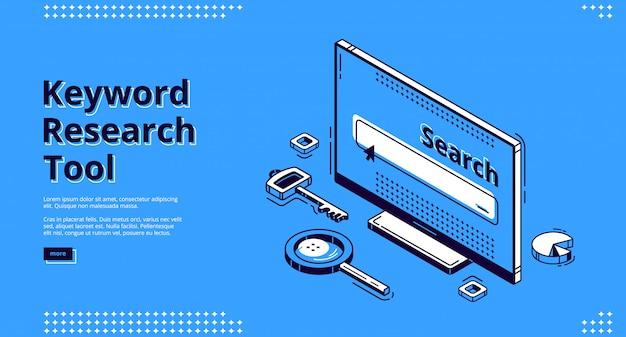 Herramienta de investigación de palabras clave página de inicio isométrica.