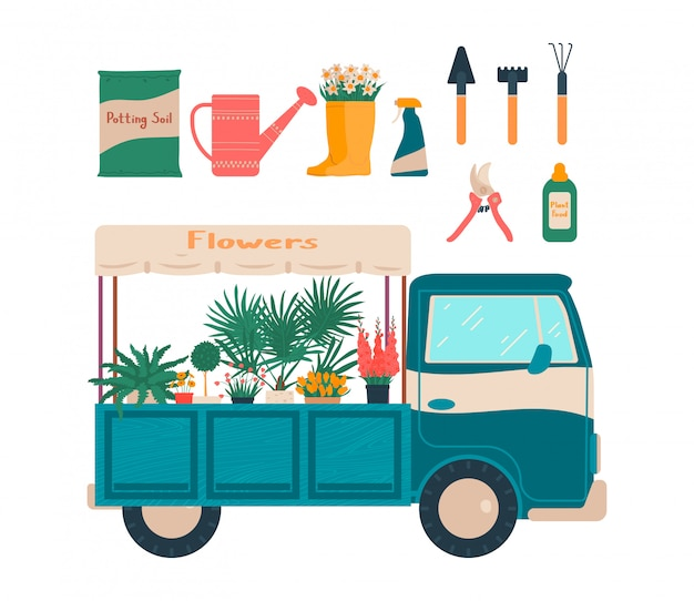 Herramienta de jardín para el conjunto de ilustración de plantas de la casa, tienda de flores móvil de dibujos animados, artículos para jardinería iconos dibujados a mano en blanco