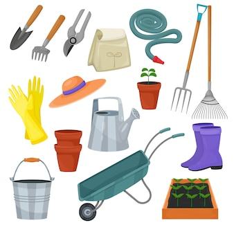 Herramienta de jardín vector equipo de jardinería rastrillo o pala y cortacésped de jardinero granja colección o conjunto de agricultura aislado