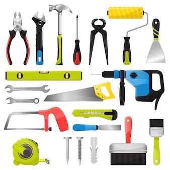 Herramienta de mano vector handtools martillo alicates y destornillador de caja de herramientas