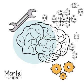 Herramienta de rompecabezas de engranaje de cerebro de salud mental