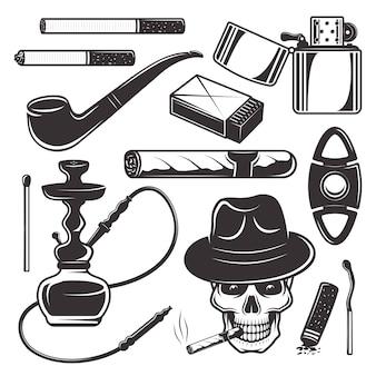 Herramientas y accesorios para fumar, conjunto de productos de tabaco.