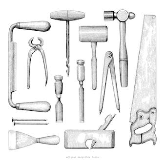Herramientas de carpintero antiguo dibujo a mano estilo vintage sobre fondo blanco.