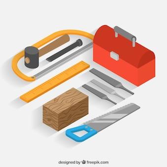 Herramientas de carpintero con estilo isométrico