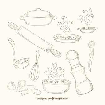 Herramientas de cocina dibujadas a mano en estilo retro