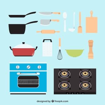 Herramientas de cocina con diseño plano
