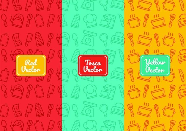 Herramientas de cocina patrón de línea delgada en diferentes colores