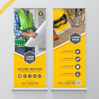 Herramientas de construcción enrollable y diseño de banner de standee.