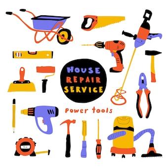 Herramientas de construcción, lindo equipo de reparación de casas.