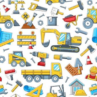Herramientas de construcción y maquinaria de patrones sin fisuras.