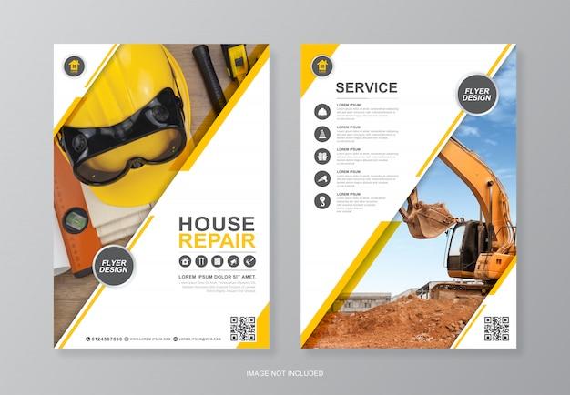 Herramientas de construcción página a4 plantilla de diseño de volante
