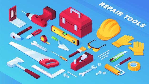 Herramientas para la construcción y reparación de artículos, equipos de construcción.