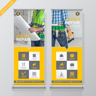 Herramientas de construcción roll up y standee banner diseño plantilla