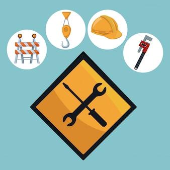 Herramientas construcción y señal de tráfico destornillador y llave