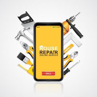 Herramientas de construcción de servicio en línea de teléfono con suministros de herramientas