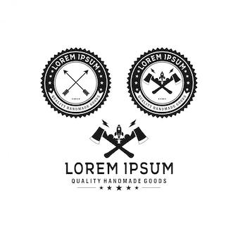 Herramientas de construcción vintage, insignia y plantilla de logotipo