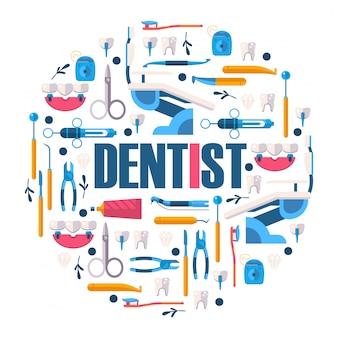 Herramientas de cuidado dental, instrumentos de cirugía estomatológica.