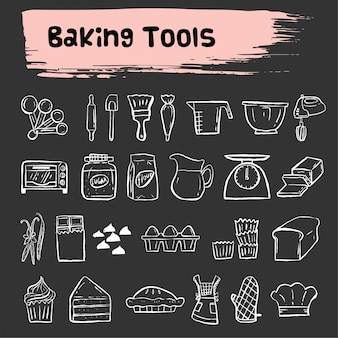 Herramientas de cocción doodle conjunto de iconos de dibujo