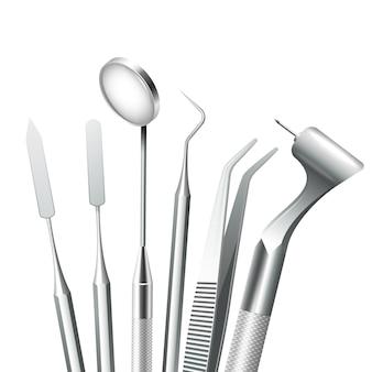 Herramientas dentales de acero del equipo médico dental de los dientes fijadas realistas