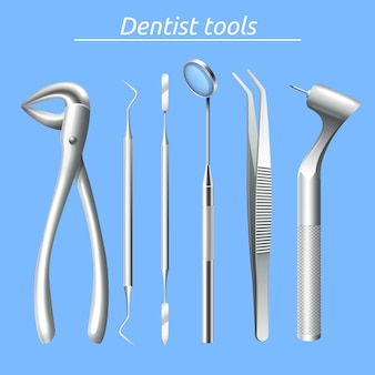 Herramientas de dentista realistas y equipo de cuidado de la salud dental