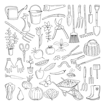 Herramientas dibujadas a mano para la agricultura y la jardinería. doodle del entorno natural.