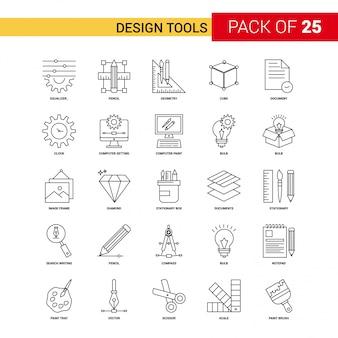 Herramientas de diseño icono de línea negra - 25 conjunto de iconos de esquema de negocios
