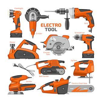 Herramientas eléctricas, equipos de construcción eléctrica, amoladora, cepilladora y sierra circular, conjunto de maquinaria de destornillador y lijadora eléctrica en caja de herramientas sobre fondo blanco.