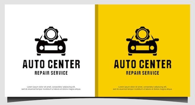 Herramientas de engranajes y vector de diseño de logotipo de servicio de reparación de automóviles