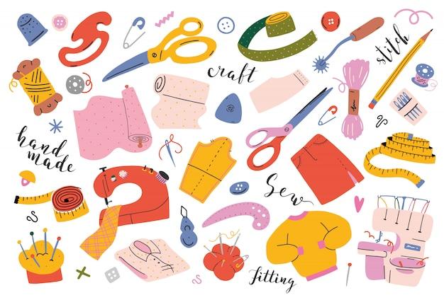 Herramientas y equipos de costura.