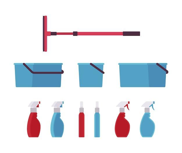 Herramientas y equipos de limpieza de ventanas.