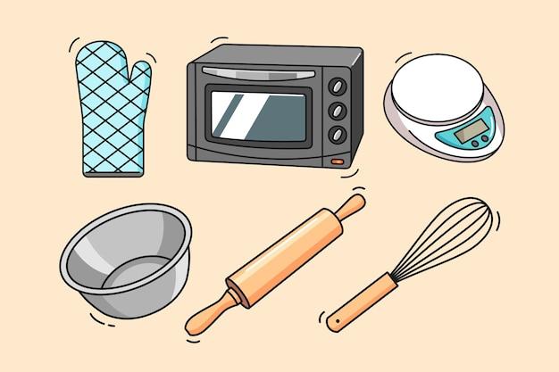 Herramientas y equipos de panadería dibujados a mano