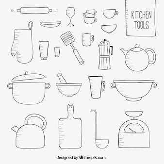 Herramientas esbozadas de cocina