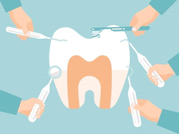 Las herramientas estomatológicas tratan el diente. examen oral. estomatólogo manos con herramienta de dentistas trata los dientes. cuidado dental por parte de médicos