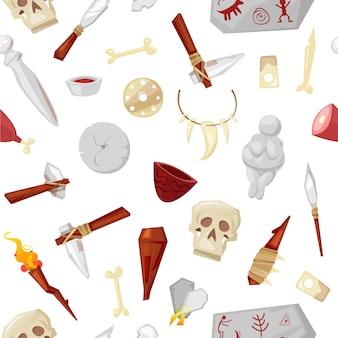 Herramientas de hombre de las cavernas, armas y objetos, elementos de la vida en la edad de piedra, huesos de mamut de la cueva, calavera y dioses figurines de patrones sin fisuras ilustración de dibujos animados.