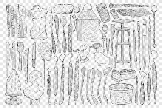 Herramientas para la ilustración de conjunto de doodle de escultura