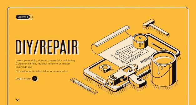 Herramientas de ingeniería de pancartas isométricas de reparación de bricolaje