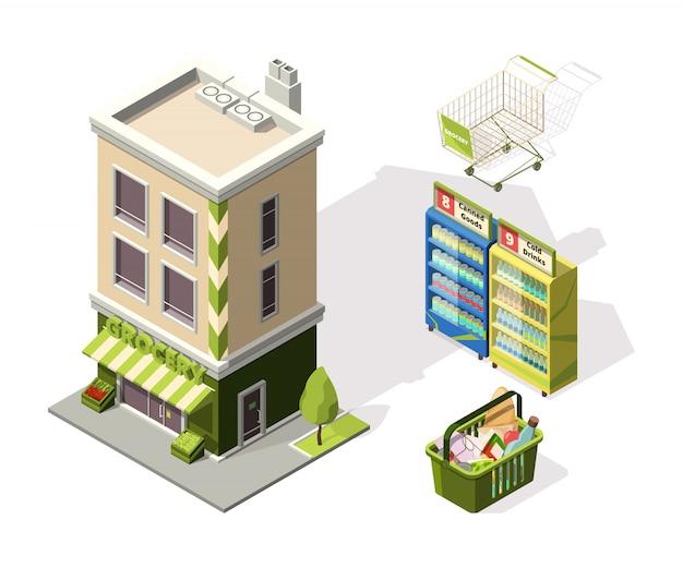 Herramientas isométricas para supermercado. ilustraciones 3d de la cesta de compras
