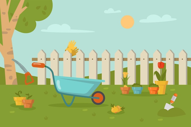 Herramientas de jardín tumbado sobre la hierba delante de la valla. carretilla, pala, aserrar un árbol, guantes en la cerca, flores en macetas ilustración de dibujos animados